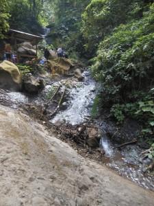 Steaming hot waterfall at Fuentes Georginas - the natural hot springs!